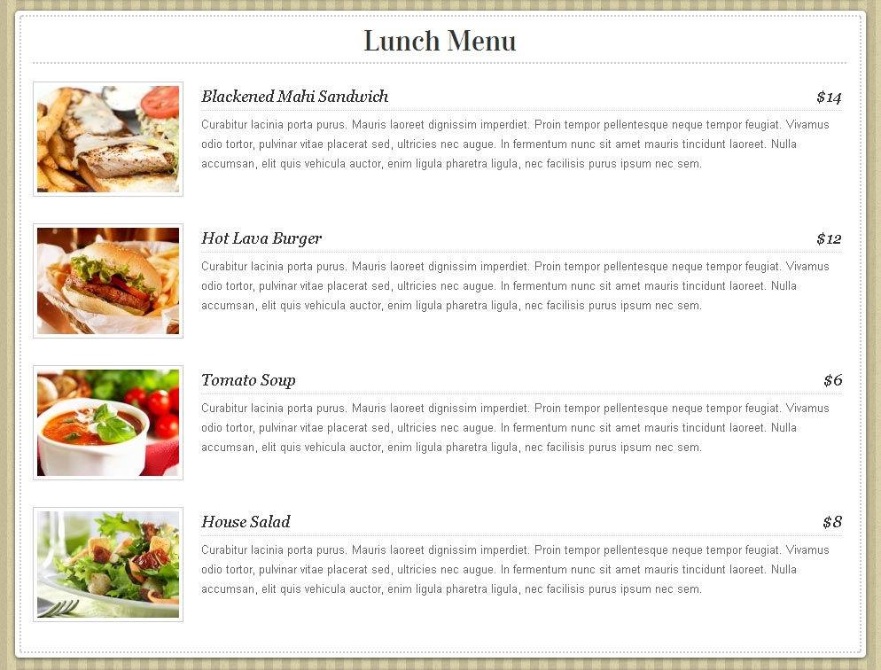 Restaurant online menu st mary teach